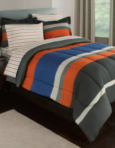 Orange Rugby Stripe Complete Bedding Set
