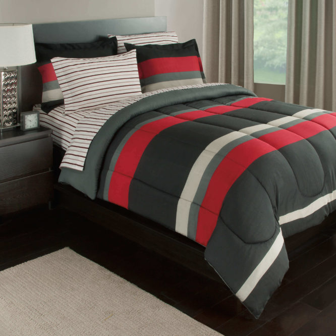 Red Rugby Stripe Complete Bedding Set
