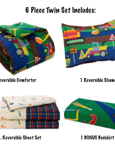 Kidz Mix Construction Zone Reversible Complete Bedding Set